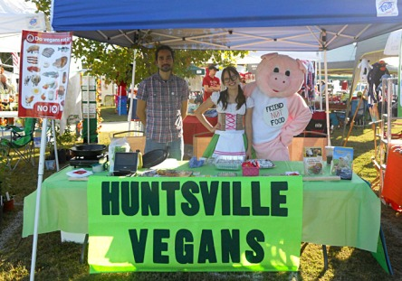 Huntsville Vegans tabling at Cullman Oktoberfest, October 2011